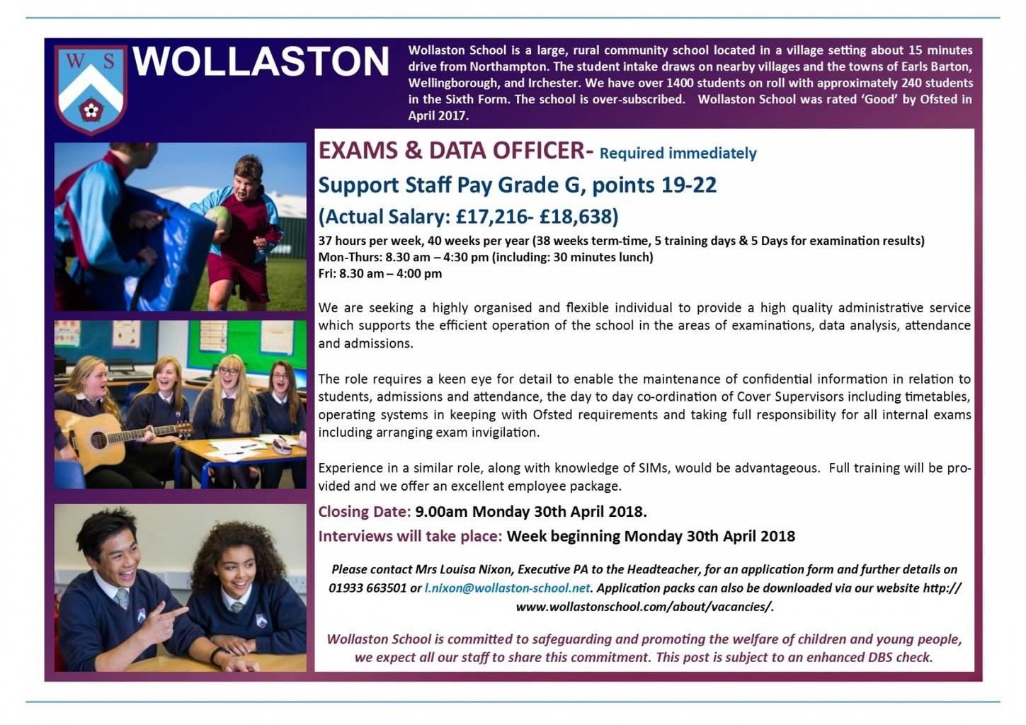 Exams and Data Officer - Advert April 2018