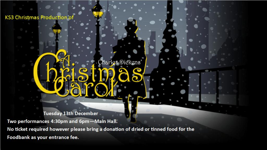 A Christmas Carol Poster.Christmas Production A Christmas Carol Tuesday 13th