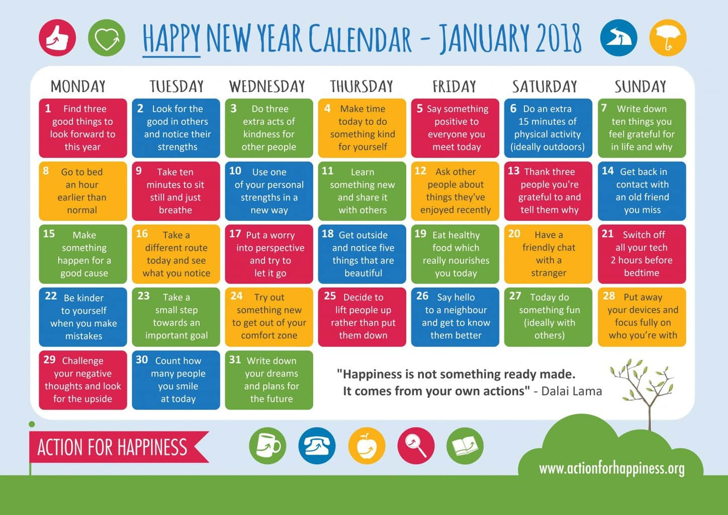 Happiness calendar Jan 18