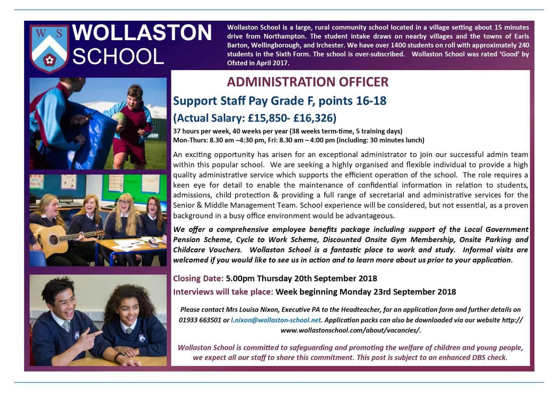 Admin Officer - Advert Sept 2018