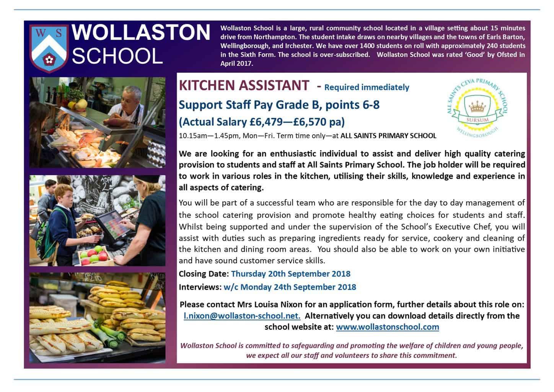 Kitchen Assistant - ALL SAINTS - Advert Sept 2018