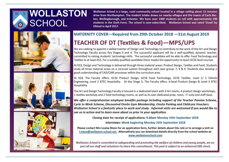 Teacher of Food & Textiles - MAT Cover - Jan 2019