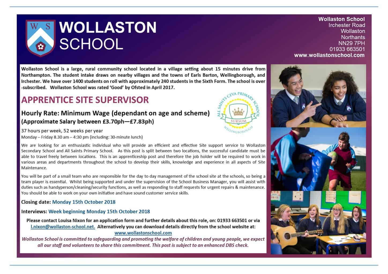 Apprentice Site Supervisor - Advert Oct 2018