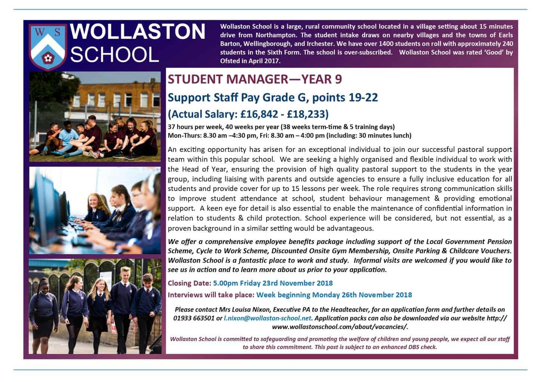 Student Manager - Advert Nov 2018