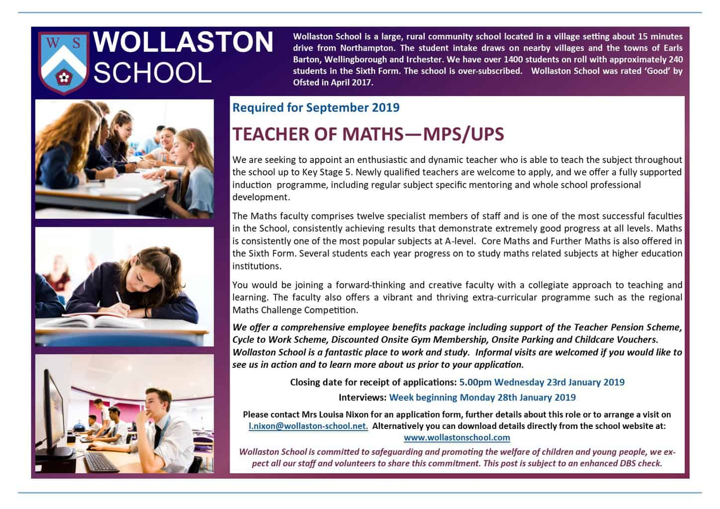 Teacher of Maths - Sept 2019