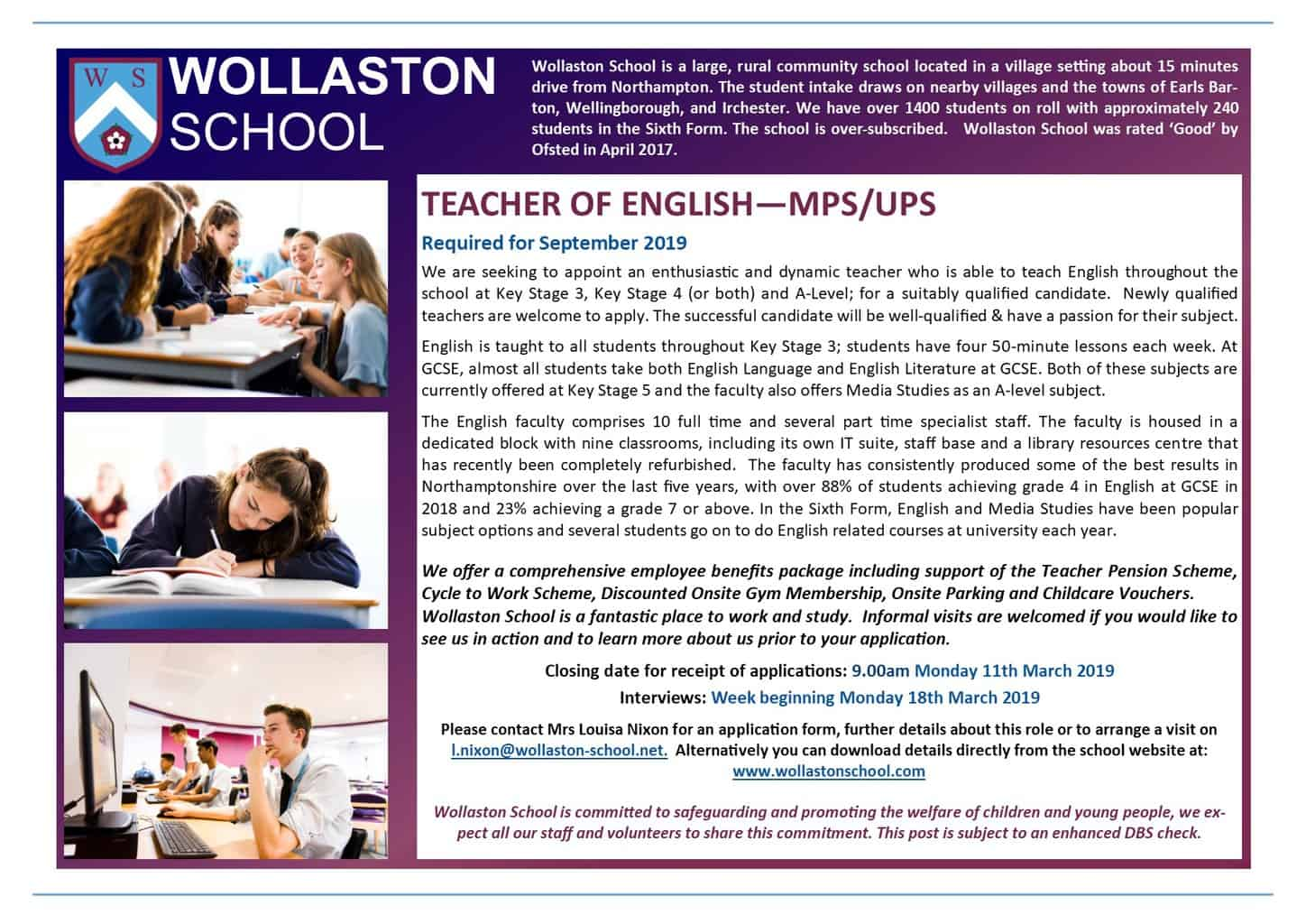 Teacher of English - Jan 2019