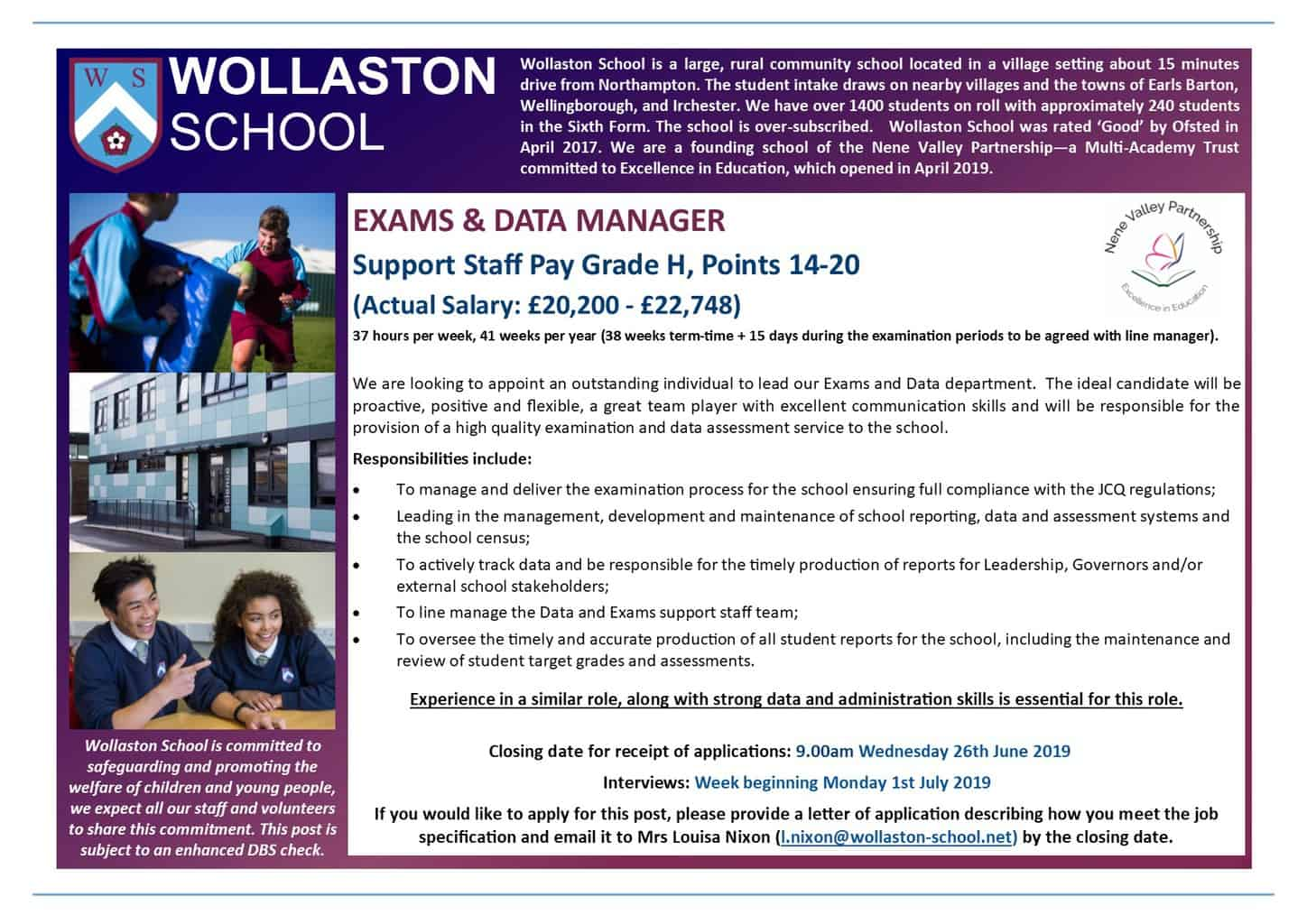 Exams and Data Manager - Advert June 2019