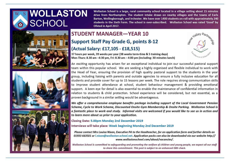 Student Manager - Advert Nov 2019