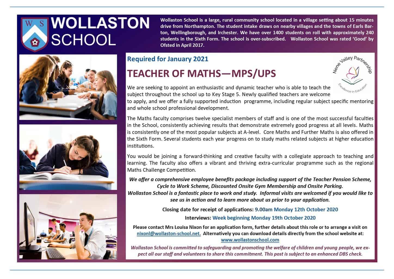 Teacher of Maths - Jan 2021