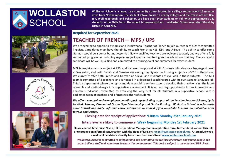 Teacher of French - Sept 2021