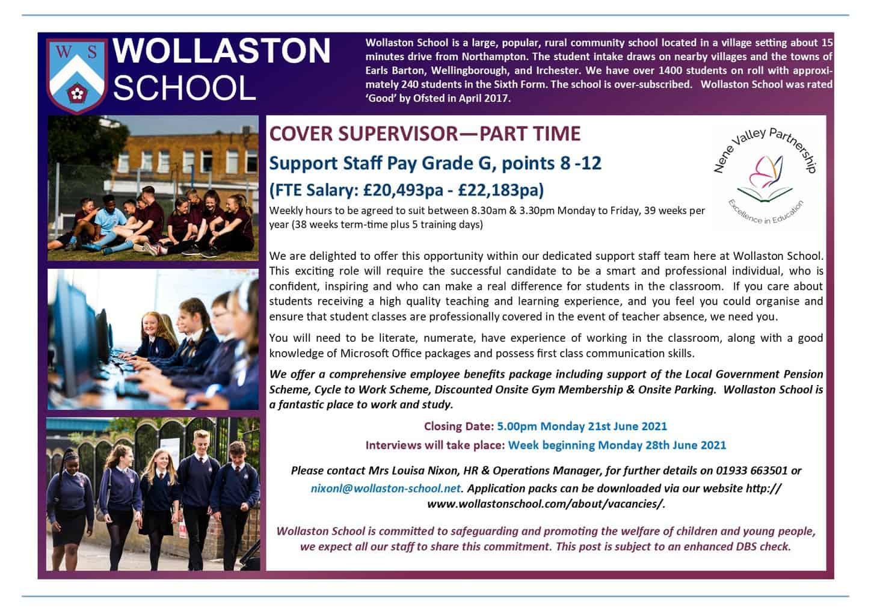 Cover Supervisor - Part time - Advert June 2021